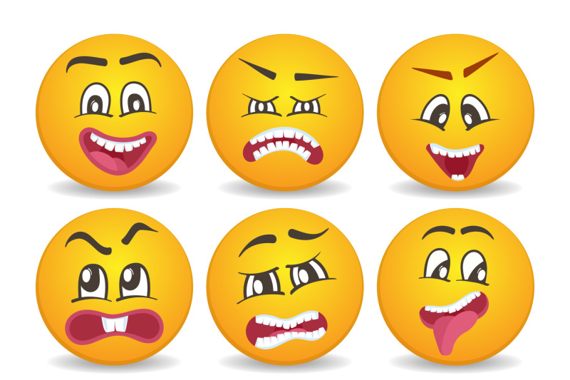 smileys-with-different-face-expression-stuck