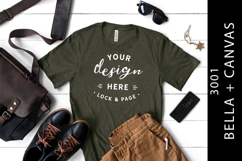 Free Male Heather Military Green Bella Canvas 3001 T-Shirt Mockup (PSD Mockups)