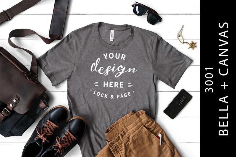 Free Mens Heather Storm Bella Canvas 3001 Mockup Male T-Shirt (PSD Mockups)