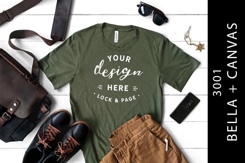 Free Military Green Men's Bella Canvas 3001 T-Shirt Mockup (PSD Mockups)
