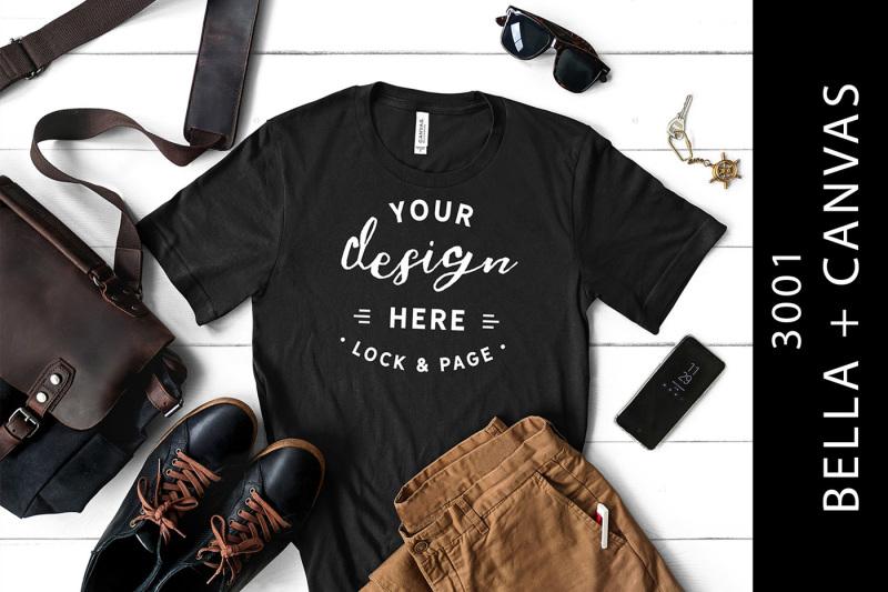 Free Men's Black T-Shirt Mockup Bella Canvas 3001 Male Flat Lay (PSD Mockups)