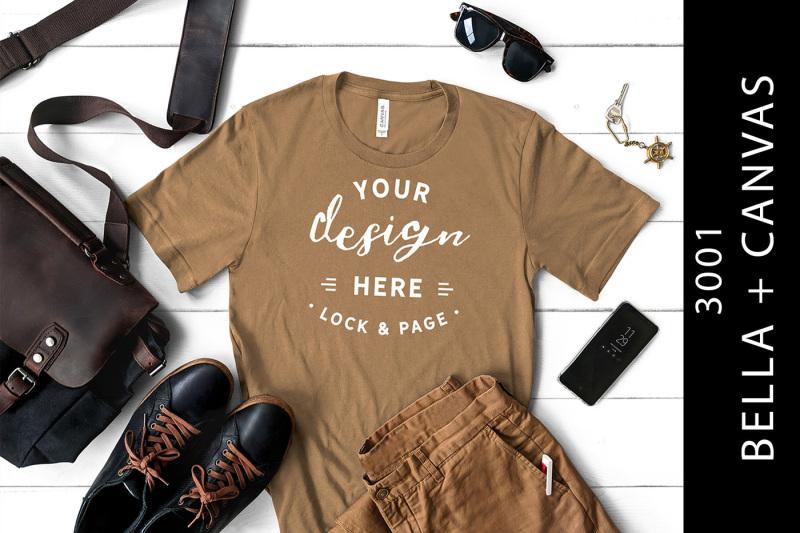 Free Mens Pebble Brown Bella Canvas 3001 T-Shirt Mockup (PSD Mockups)