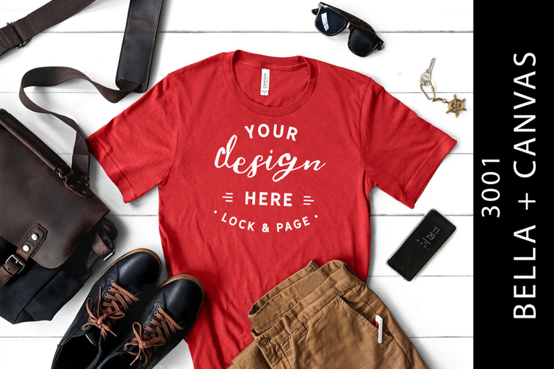 Free Red Men's Bella Canvas 3001 Mockup Male T-Shirt Flat Lay (PSD Mockups)