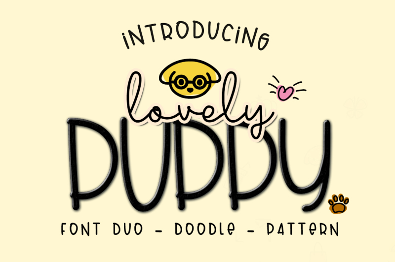 lovely-puppy-font-duo-pattern