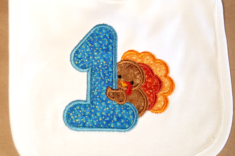 First thanksgiving turkey applique embroidery by designed by