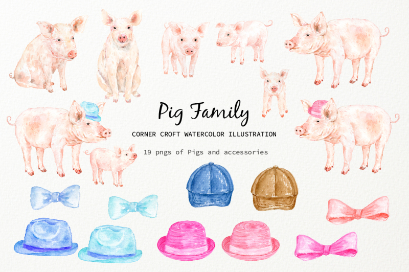 watercolor-pig-family-clipart-for-instant-download