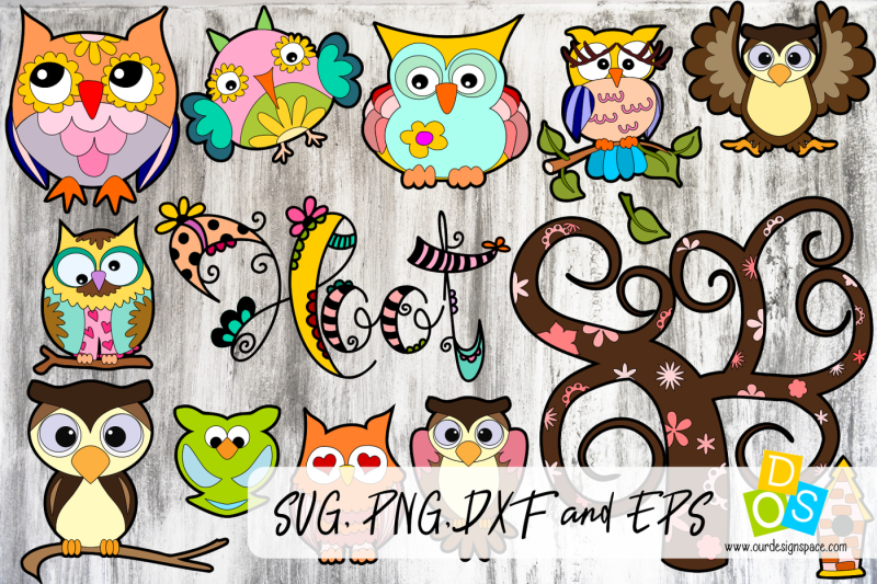 owl-svg-png-dxf-and-eps-bundle