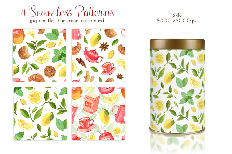 watercolor-teatime-clipart-collection