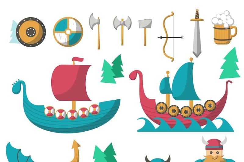 vikings-cartoon-set-and-patterns