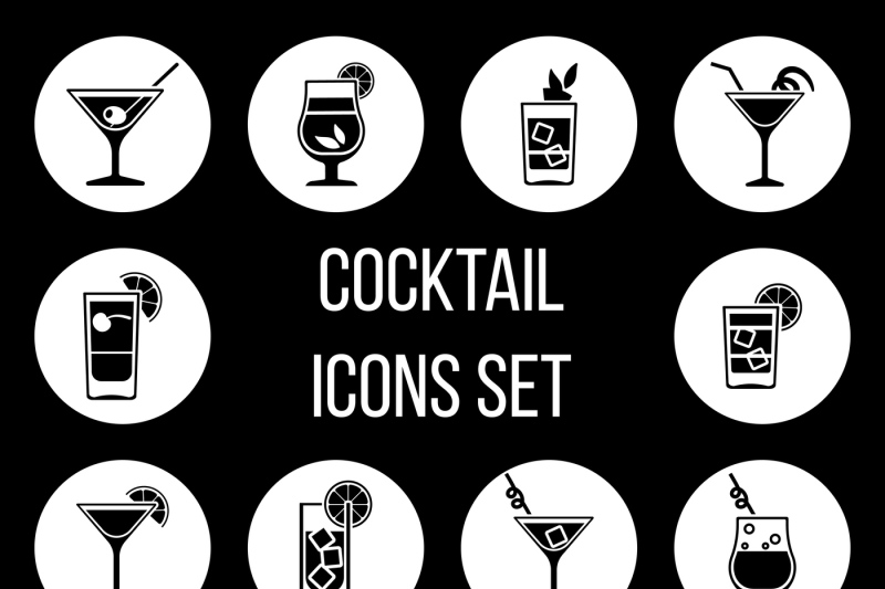cocktail-vector-icons-set-in-black-and-white