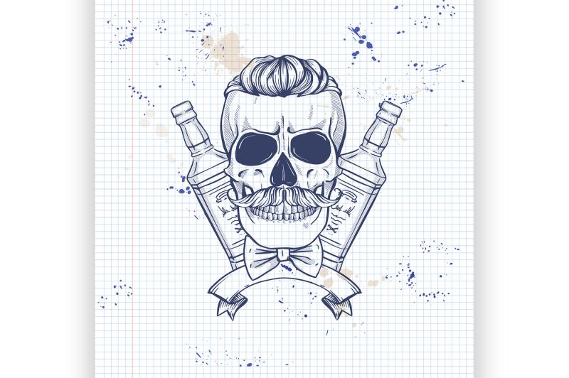 sketch-barman-skull