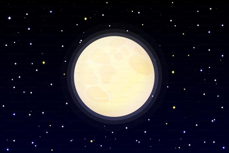 vector-full-moon-on-starry-sky