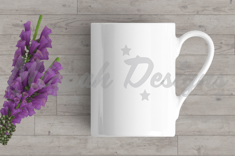 Free White Blank Mug Mock up Coffee Mug Cup Purple Flower Mock up Mug (PSD Mockups)
