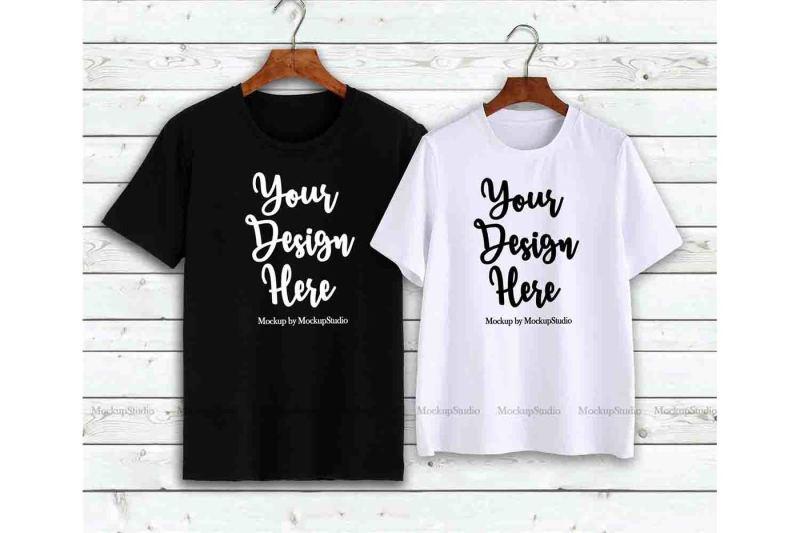 Free Couple T-Shirts Mockup, Matching Couples Shirts On Hangers (PSD Mockups)