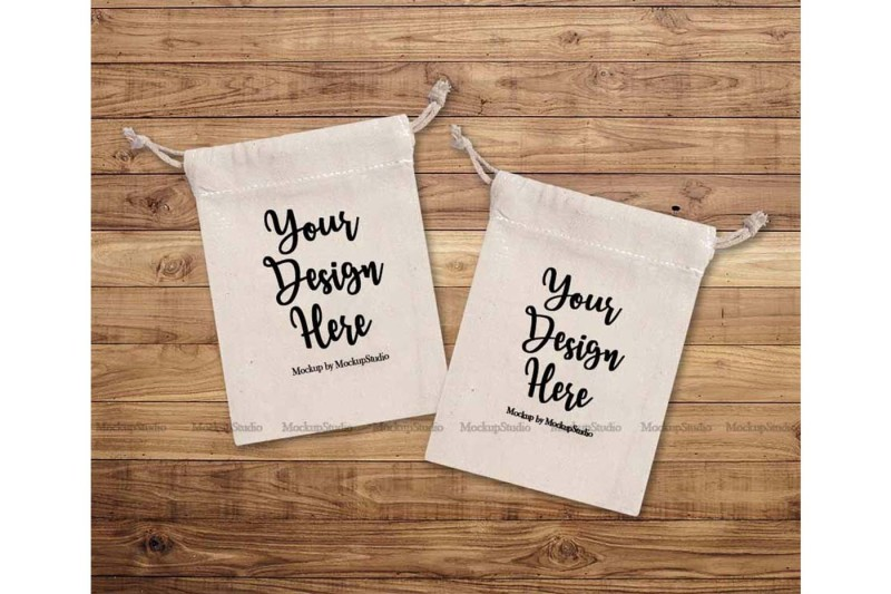 Free Tooth Fairy Bag Pouch Mock Up Cotton Muslin Sack Mockup (PSD Mockups)