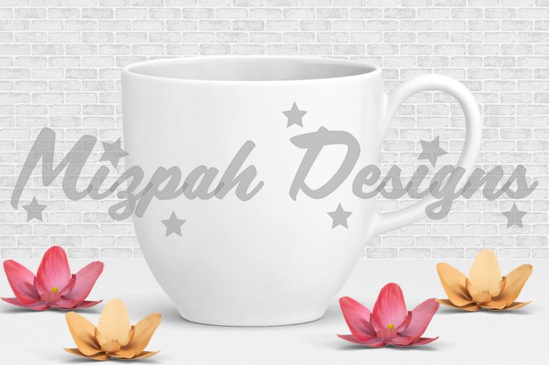 Free White Blank Mug Mock up Coffee Mug Cup Lilly Orchid Flower Mock up Mug (PSD Mockups)