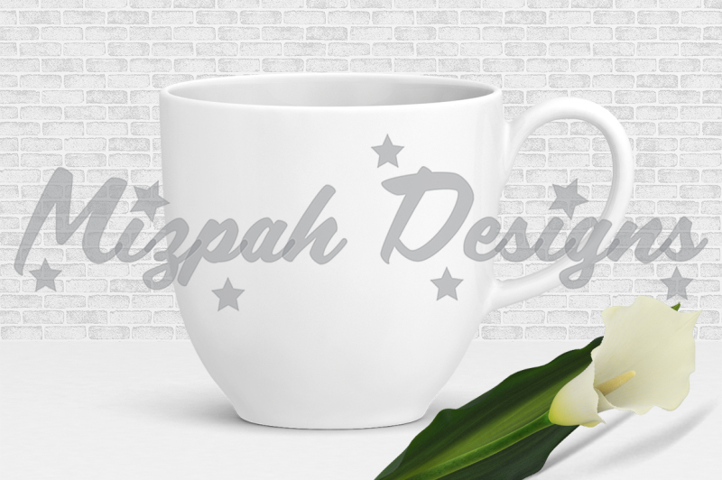 Free White Blank Mug Mock up Coffee Mug Cup Calla Lilly Flower Mock up Mug (PSD Mockups)