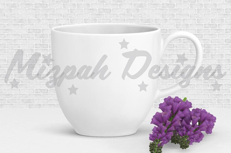 Free White Blank Mug Mock up Coffee Mug Cup Purple Flower Mock up Mug Desig (PSD Mockups)