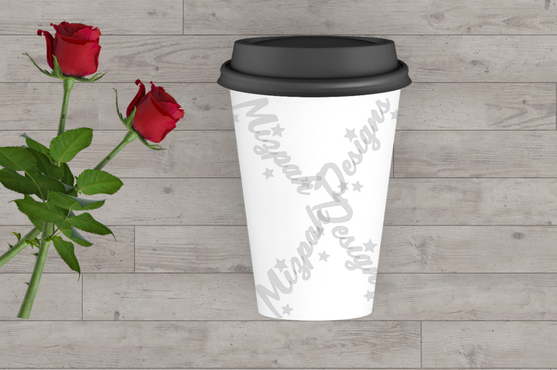Free White Blank Portable Flask Travel Mug Mock up Coffee Mug Cup Rose Flow (PSD Mockups)