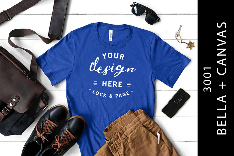 Free Men's True Royal Bella Canvas 3001 Mockup T-Shirt Flat Lay (PSD Mockups)