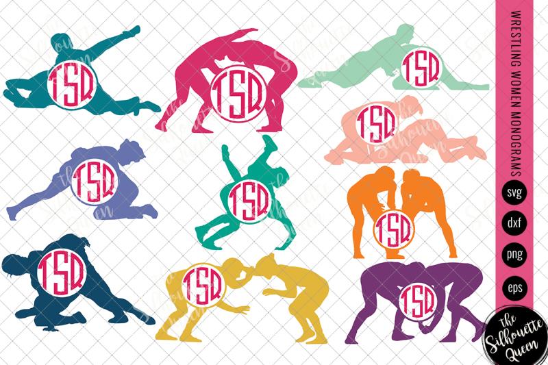 wrestling-svg-monogram-circle-frames-cuttable-design-cut-files-silh