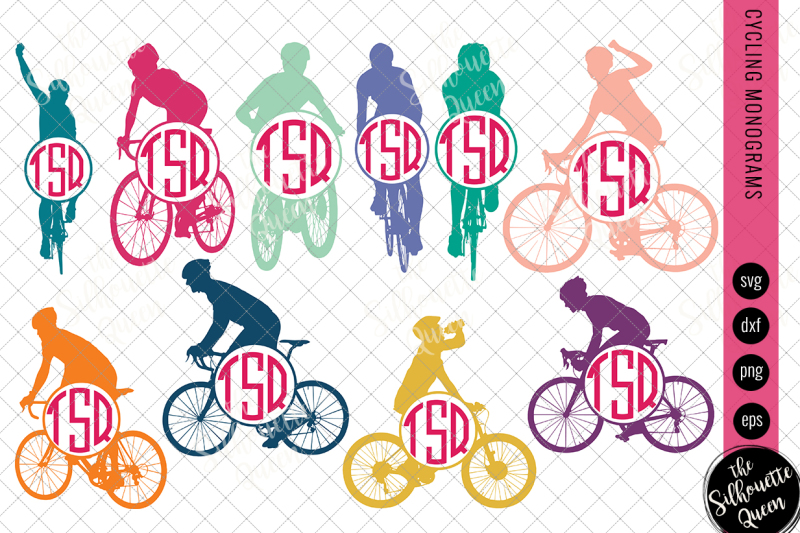 cycling-svg-monogram-circle-frames-cuttable-design-cut-files-silho