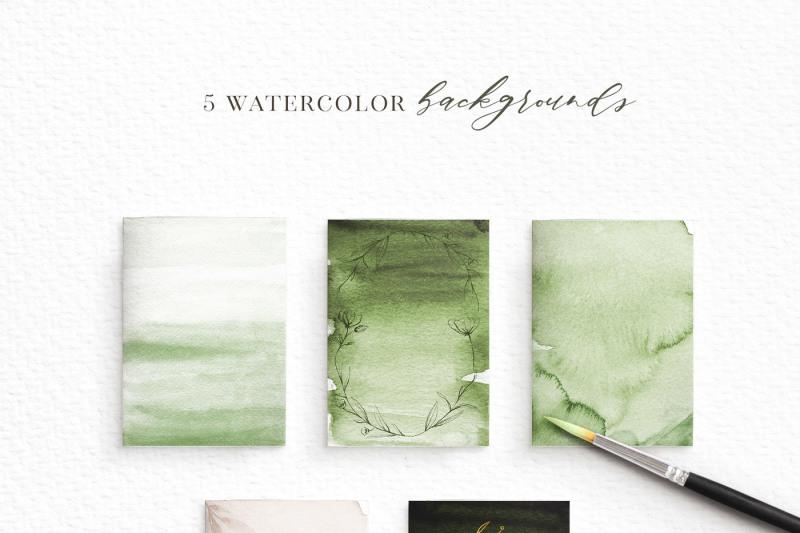 delicate-greenery-watercolor-pencil-sketches