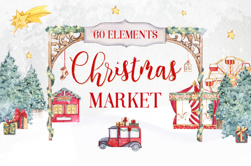 christmas-market-watercolor-collection