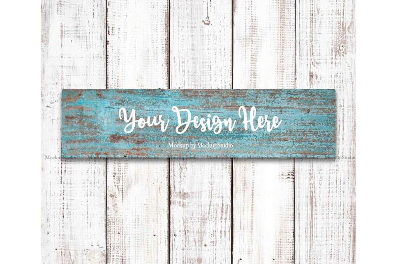 Free Farmhouse Blue Wooden Sign Mockup, Rustic Stencil Wood Sign (PSD Mockups)