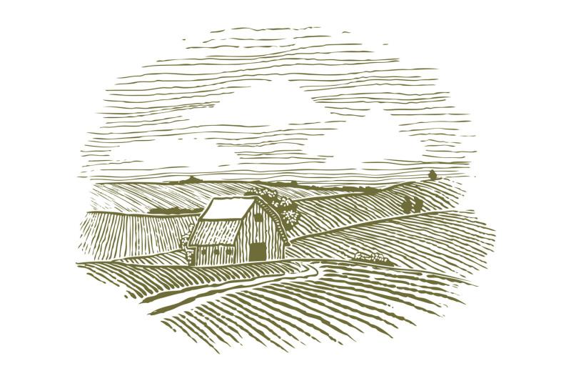 woodcut-farm-fields