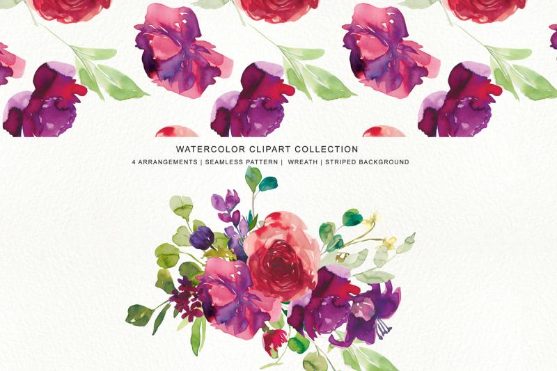 watercolor-red-purple-flowers-arrangement-clipart