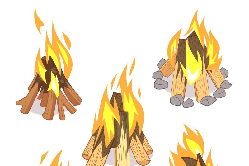 campfire-outdoor-bonfire-with-burned-logs-cartoon-vector-set