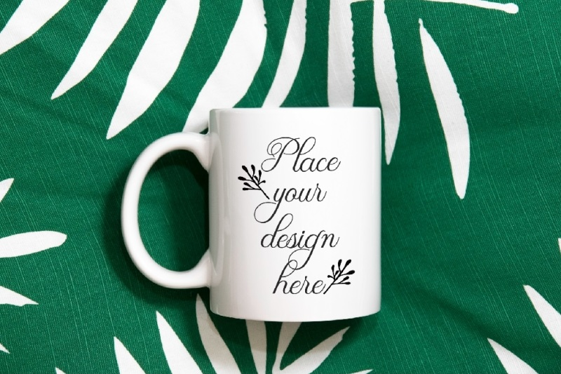 Free Modern neutral White Coffee mug mock up sublimation cup mockup (PSD Mockups)