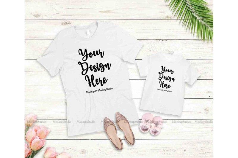 Free Mother Daughter White Shirts Mockup Bella Canvas 3001 3001T (PSD Mockups)