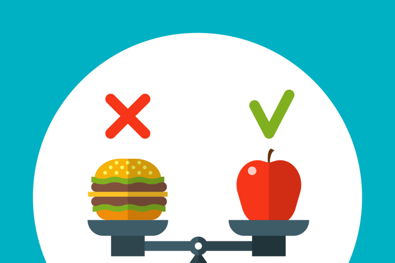 diet-food-balance-healthy-vector-concept-with-apple-and-hamburger-on