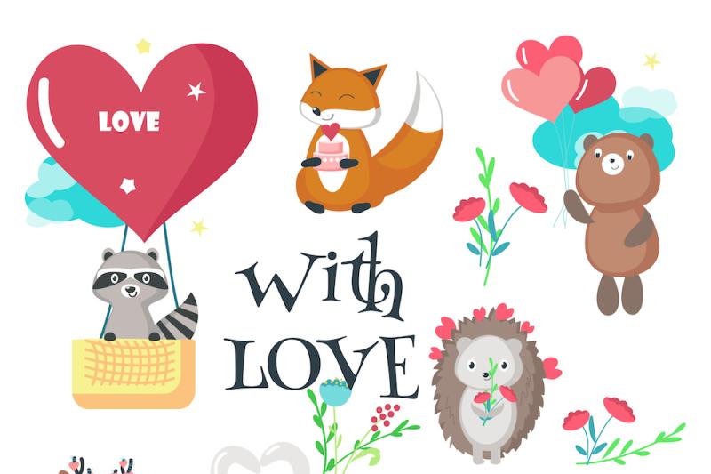 cute-animals-romantic-set-and-seamless-patterns