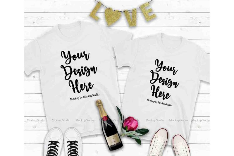 Free Couple Two White T-Shirts Mockup, Valentine Shirt Mock Up (PSD Mockups)