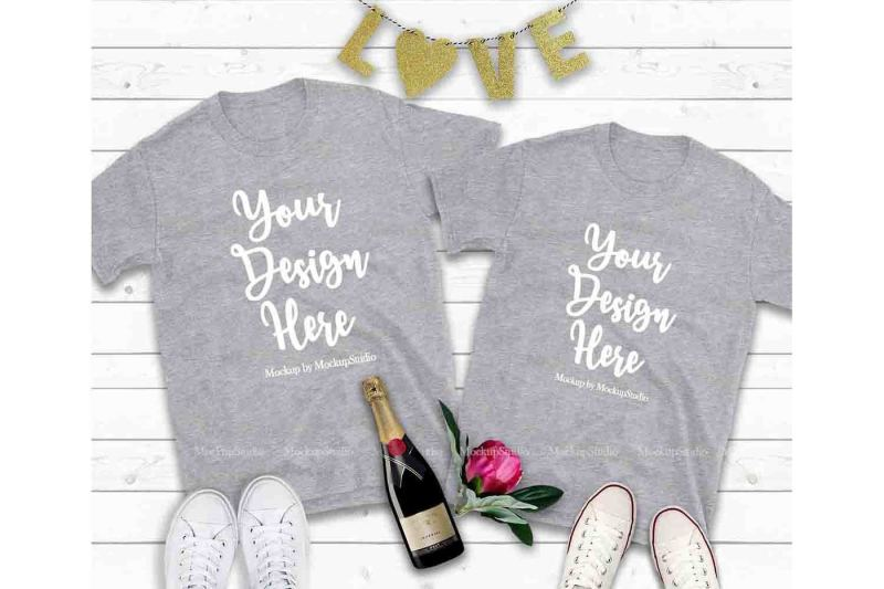 Free Couple Two Sport Grey T-Shirts Mockup, Valentine Shirt Mock Up (PSD Mockups)