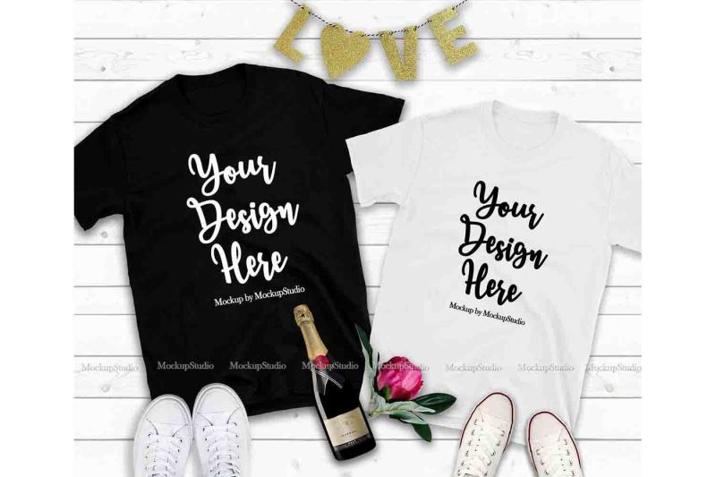 Free Couple Two Black And White T-Shirts Mockup, Valentine Shirt Mock Up (PSD Mockups)