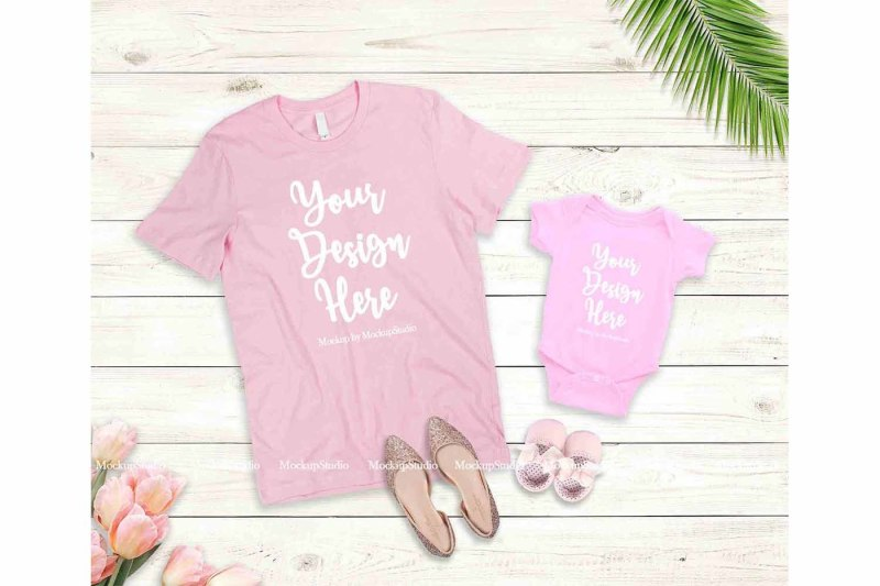 Free Mother Daughter Pink T-Shirts Mockup, Mommy Toddler Shirt Mock Up (PSD Mockups)