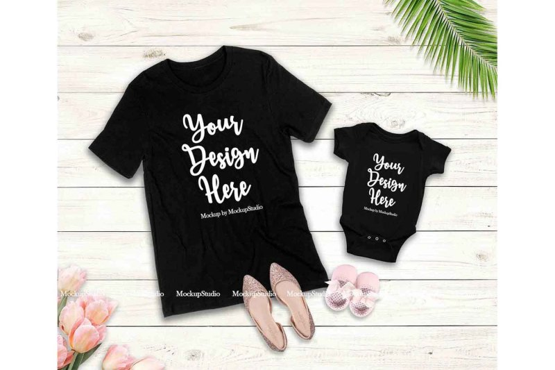 Free Mother Daughter Black T-Shirts Mockup, Baby Onepiece Mockup Display (PSD Mockups)