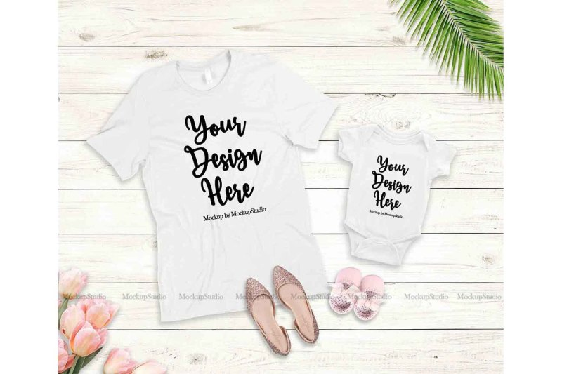 Free Mother Daughter White T-Shirts Mockup, Baby Onepiece Mock Up Display (PSD Mockups)