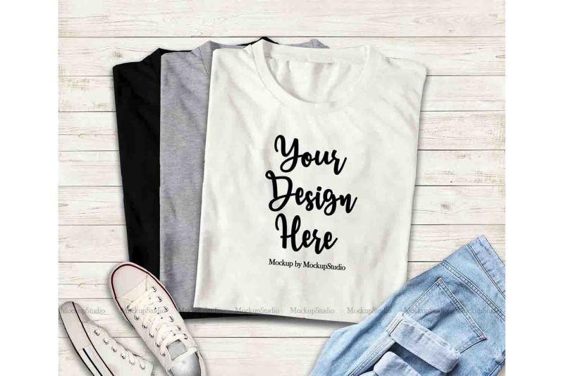 Free Multiple Colors Folded Tshirts Mockup, Black Gray White Top View Flat (PSD Mockups)