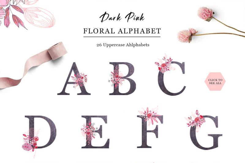 sensual-dark-pink-outline-floral-alphabet