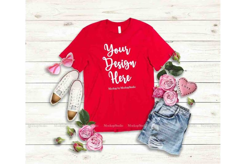 Free Red Valentine's Day Women T-Shirt Mock Up Flat Lay Display (PSD Mockups)