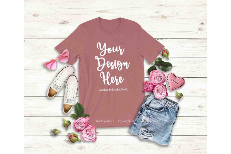 Free Mauve Valentine's Day Women T-Shirt Mock Up Flat Lay Display (PSD Mockups)