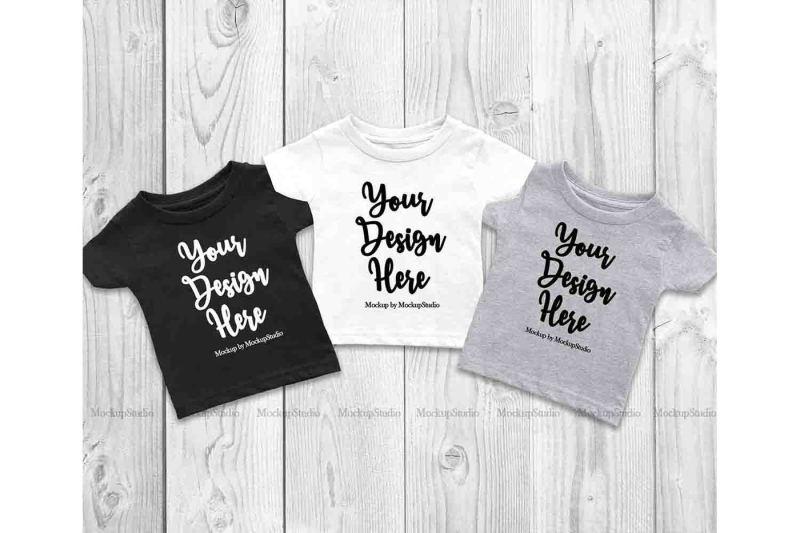 Free 3 Colors Infant T-Shirts Mockup, Baby Group Shirts Flat Lay Display (PSD Mockups)