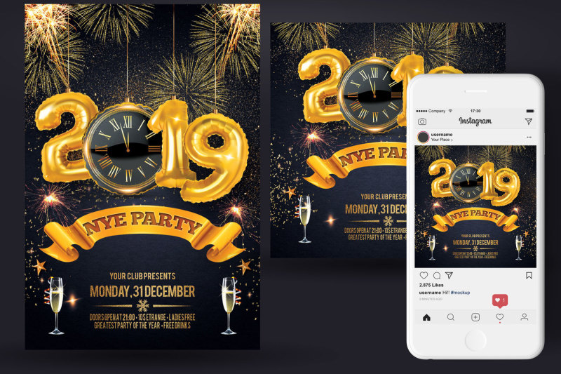 new-year-christmas-party-flyer