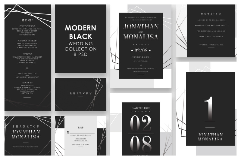 modern-black-wedding-invitation-set