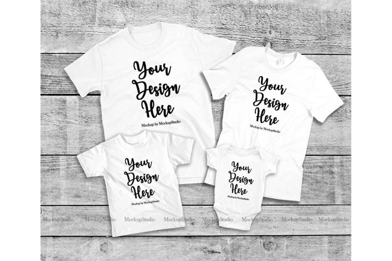 Free Matching Family 4 White T-Shirts Mockup, Parents Kids Shirt Flat Lay (PSD Mockups)
